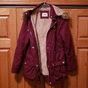 YMI faux fur lined burgundy coat